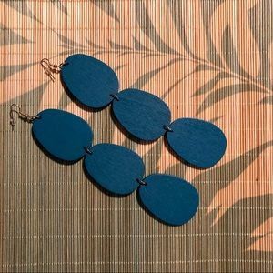 Jewelry - NWT Super Cute Wooden Turquoise Earrings